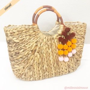 [A New Day] Straw Woven Pom Pom Tote Bag